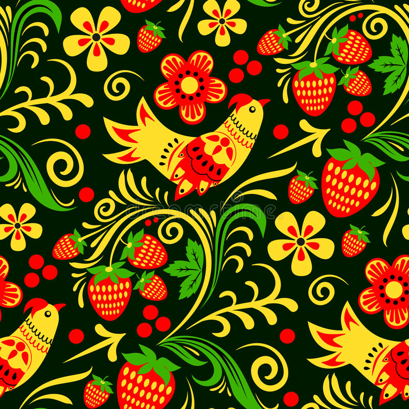 Vector Khokhloma, Russian painted and lacquered wooden bowls, spoons seamless pattern design traditional hand drawn vector illustration