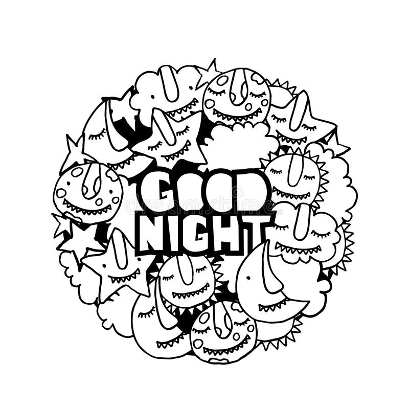Download Vector Kids Good Night Illustration. Monsters Sun, Cloud, Star,  Moon,