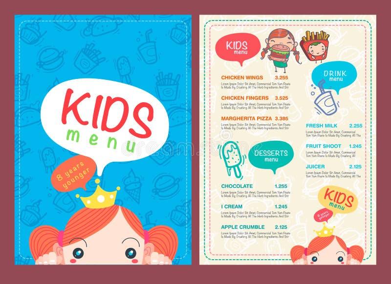 Vector kids menu template. stock vector. Illustration of kids - 64031764