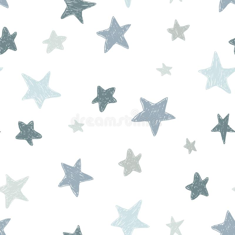 Vector kids pattern with doodle textured stars. Vector seamless background, black, gray, white, scandinavian style royalty free illustration