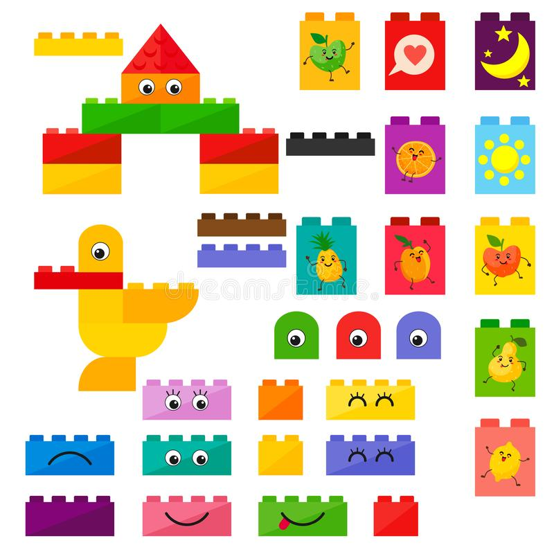Vector kids plastic bricks toys with kawai fruit with cute smiles. Vector isolates on a white background. Vector kids plastic bricks toys with kawai fruit with royalty free illustration