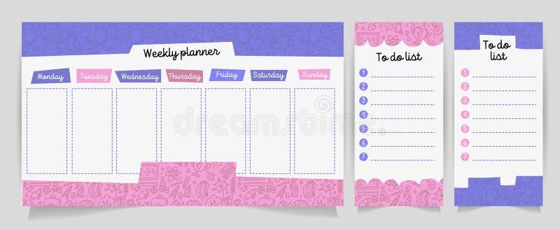 Vector kids schedule with cartoon cute shhool supplies pattern. Weekly planner. Cute list. Verctor illustration. Set of Organizer vector illustration