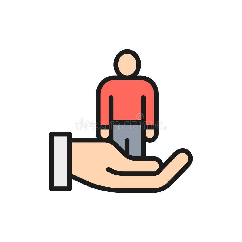 Vector kiezende werknemer voor baan, vlak de rassenbarrièrepictogram van rekruteringsmensen stock illustratie