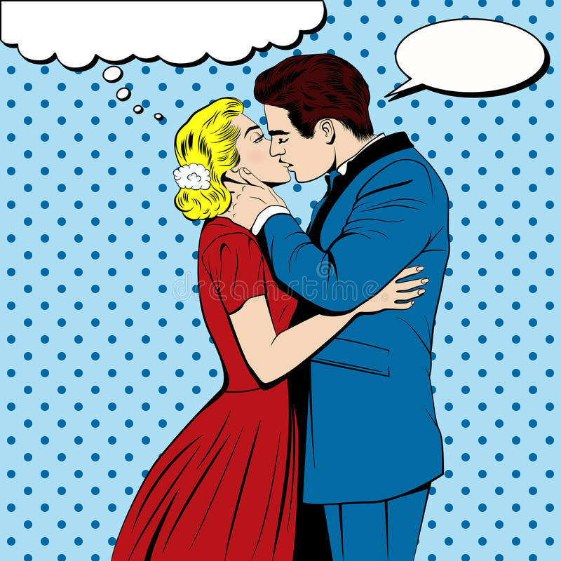 Modern Pop Art Style Apartment: Vector Kissing Couple In The Pop Art Comics Style Stock