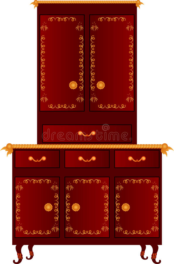 Vector kitchen cupboard. Vector illustration of kitchen cupboard royalty free illustration