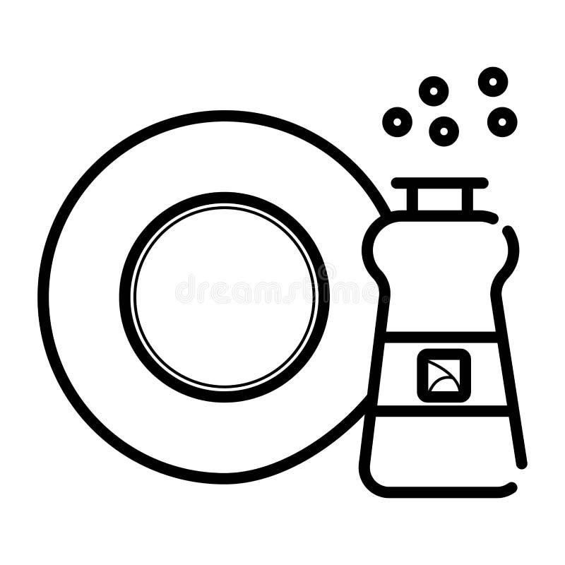 Vector kitchen dish washing vector illustration