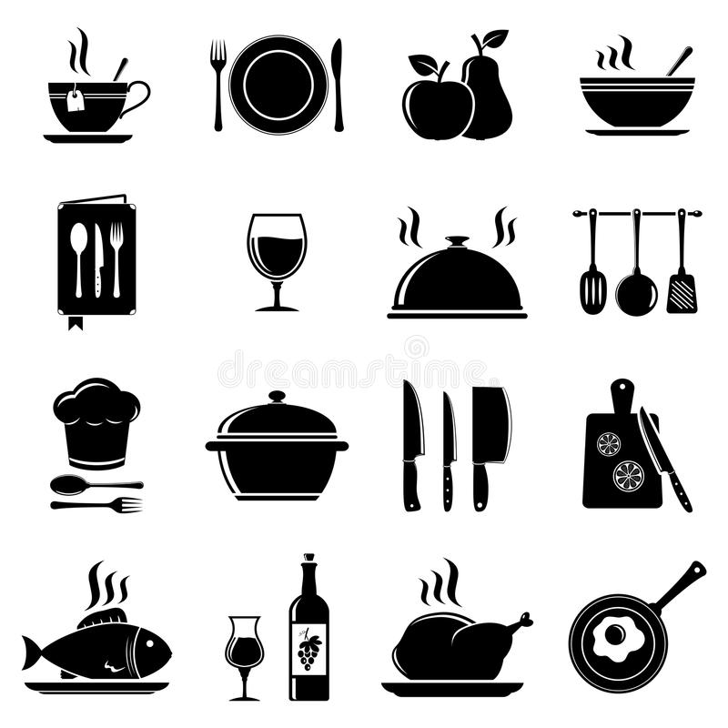 Vector kitchen icons royalty free illustration