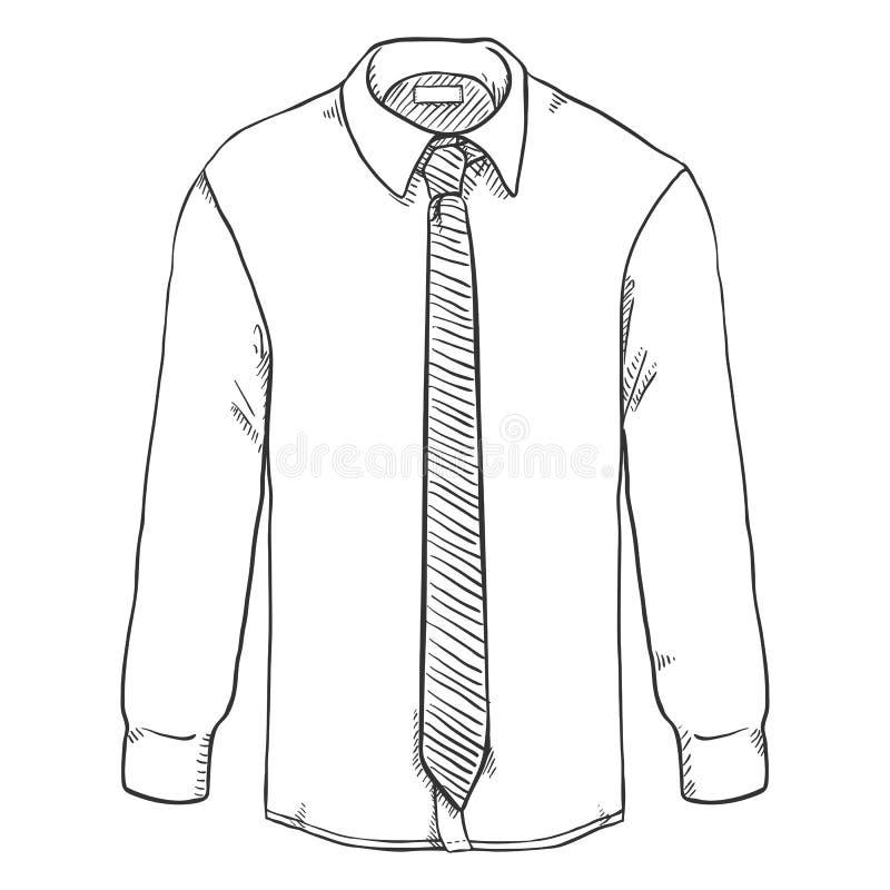 Vector Klassiek de Mensenoverhemd van de Schets lang-Koker met Stropdas royalty-vrije illustratie
