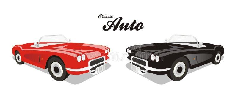 Vector klassieke auto reclame royalty-vrije illustratie