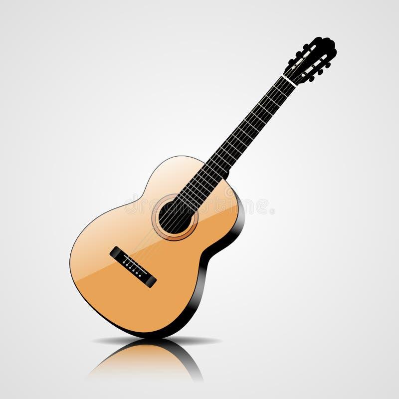 Vector klassieke gitaar op witte achtergrond royalty-vrije illustratie