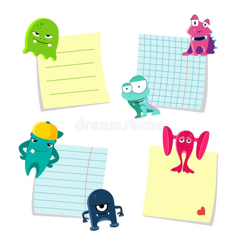Vector kleine nota's met schaduwen geplaatst die door leuke monsters op witte achtergrond worden gehouden royalty-vrije illustratie