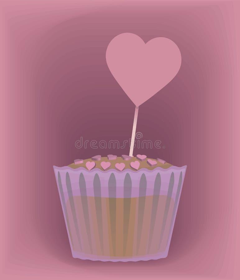 Vector kleinen Kuchen in einer Papierform mit den Falten, die die Ränder befolgt werden, besprüht mit einem süßen rosa drage durc lizenzfreie abbildung