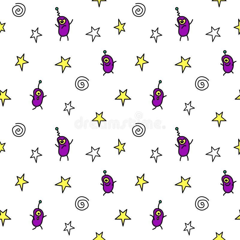Vector kleur naadloos herhalend kinderachtig patroon met schattige monsters en ruimtedoedels Babyachtergrond perfect voor stof, stock illustratie