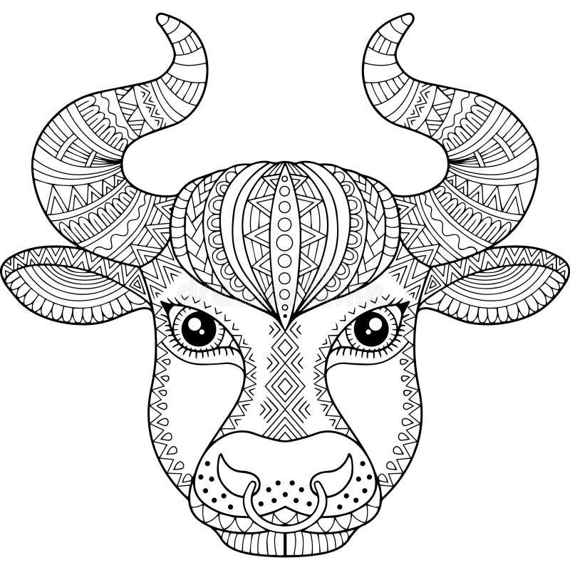 Vector kleurend boek voor volwassene Silhouet van stier die op witte achtergrond wordt geïsoleerd Het tekenStier van de dierenrie vector illustratie