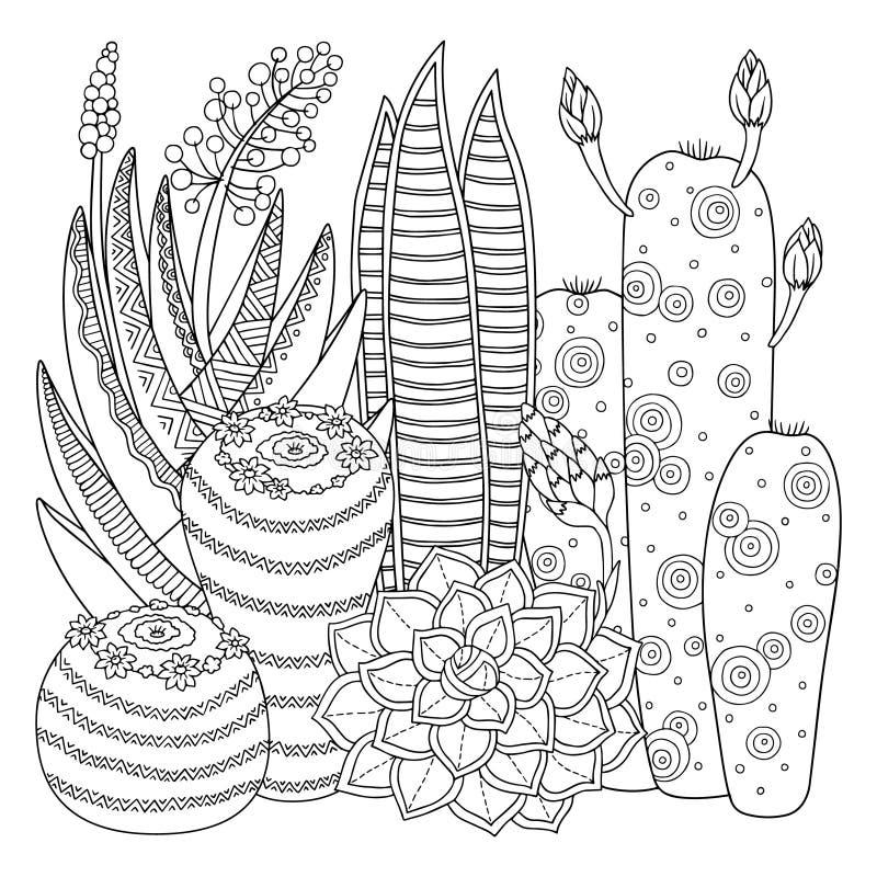 Vector kleurende pagina Lineair beeld op witte leuke cactus als achtergrond voor pagina voor het kleuren van boek Contourbeeld va royalty-vrije illustratie