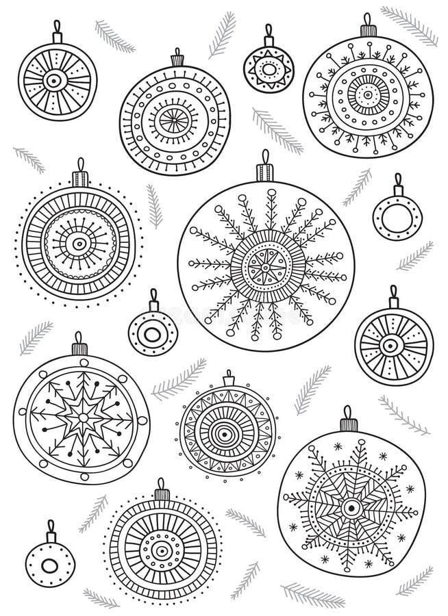 Vector kleurende pagina met Kerstmissnuisterijen in bohostijl vector illustratie
