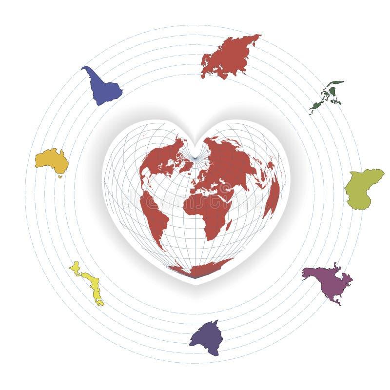Vector kleurenillustratie met vasteland en wereldkaart royalty-vrije illustratie
