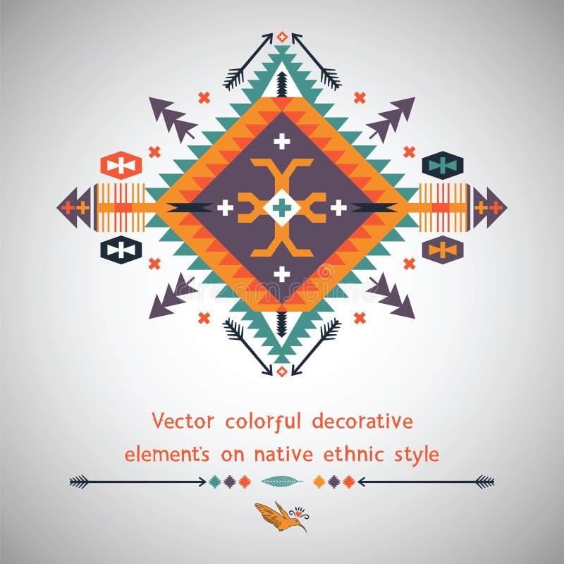 Vector kleurrijk decoratief element op inwoner stock illustratie