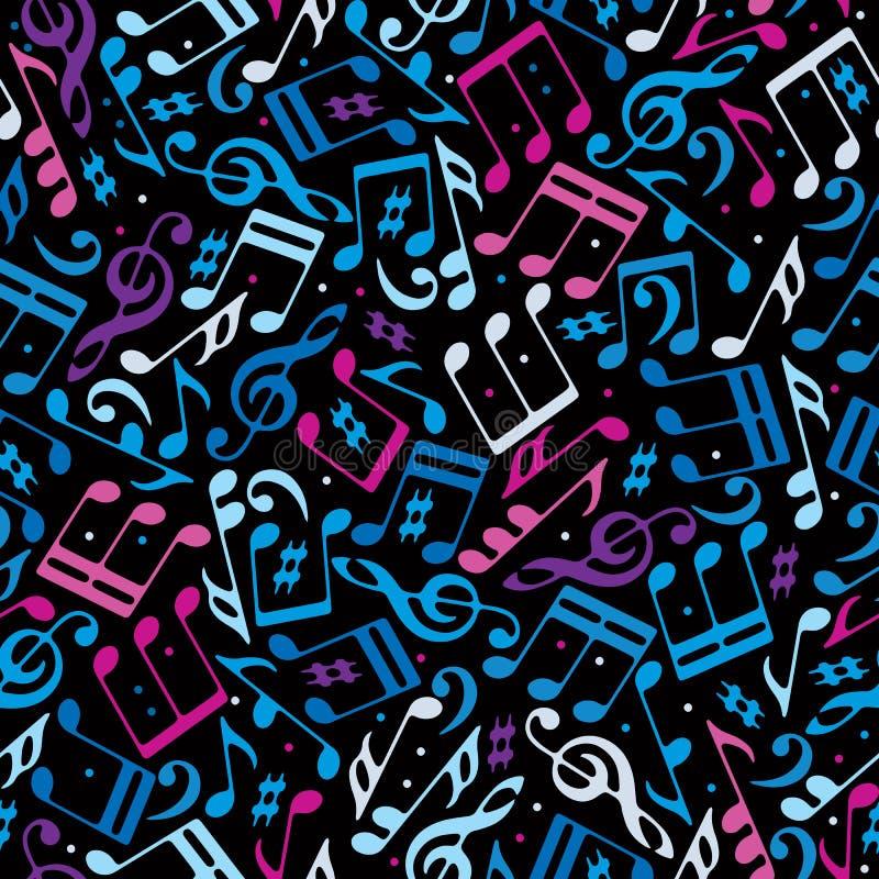 Vector kleurrijk gestippeld muziek naadloos patroon vector illustratie