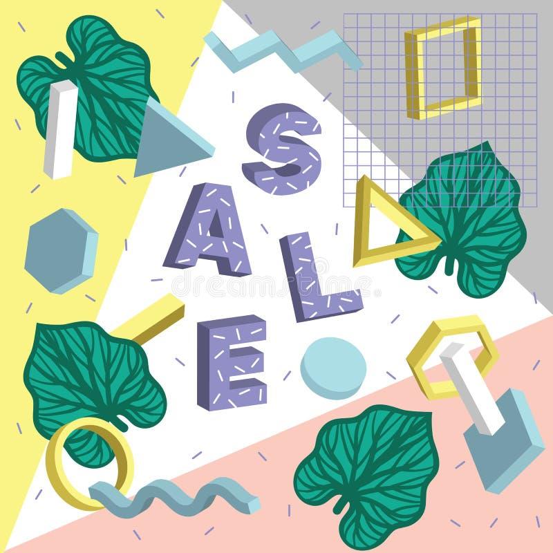 Vector kleurrijk grafisch ontwerp van vliegers, stickers en reclamebanners met tropische bladeren en eenvoudige geometrische vorm royalty-vrije illustratie