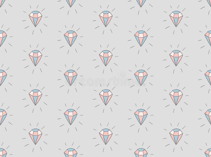 Vector Kleurrijk Naadloos Patroon met Diamanten vector illustratie