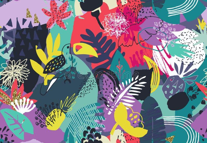 Vector kleurrijk naadloos patroon met tropische installaties, bloemen vogels, hand geschilderde textuur royalty-vrije illustratie