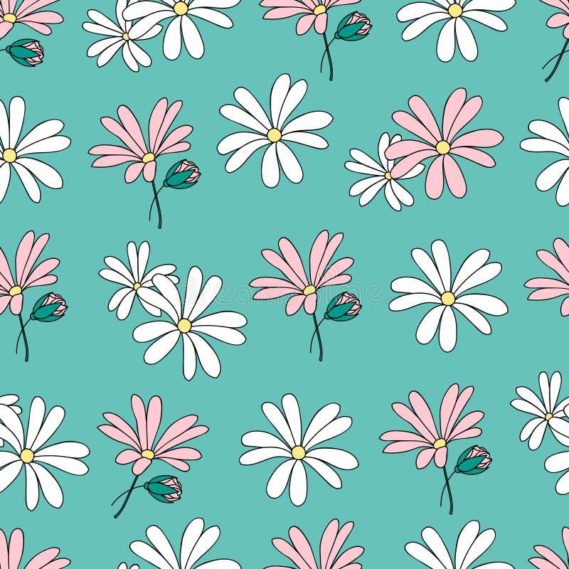 Vector kleurrijk patroon met bloemen en knoppen vector illustratie