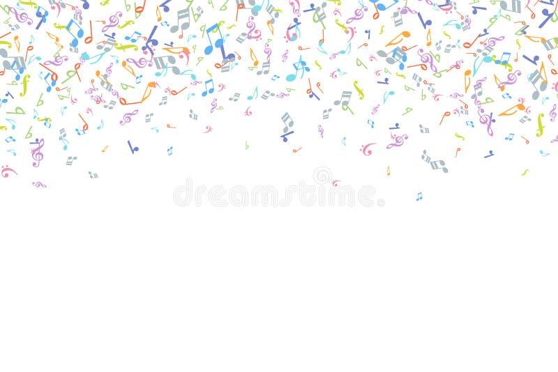 Vector kleurrijk van muziekaantekeningen element als achtergrond in vlakke stijl royalty-vrije illustratie