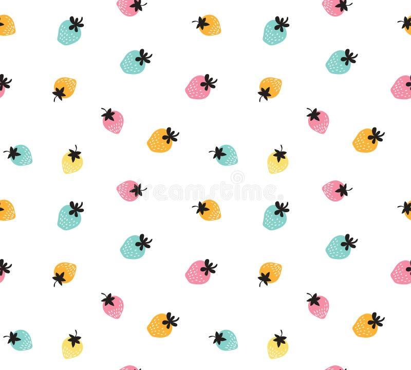 Vector kleurrijke aardbeiachtergrond Naadloos patroon van hand getrokken aardbeien vector illustratie