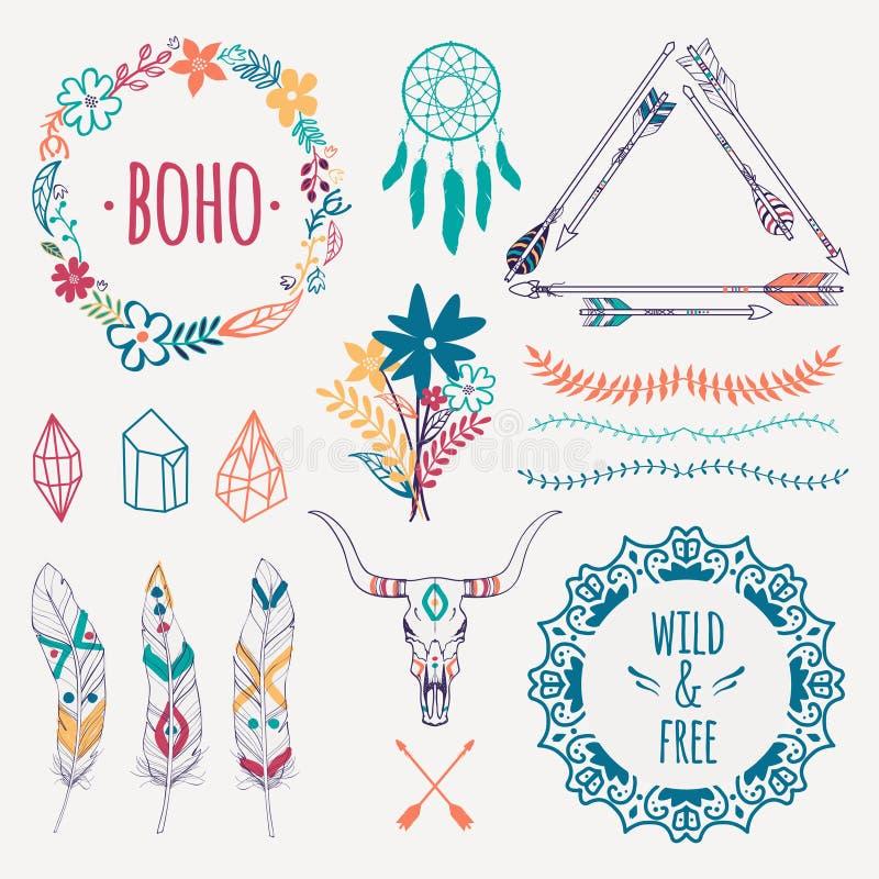 Vector kleurrijke etnische reeks met pijlen, veren, kristallen vector illustratie