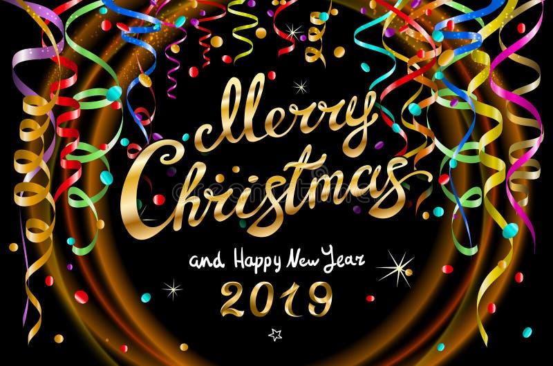 Vector Kleurrijke feestelijke illustratie voor feestpartij en decoratie zwarte achtergrond - gouden Vrolijke Kerstmis en Gelukkig stock illustratie