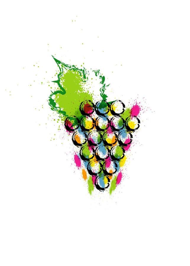 Vector kleurrijke illustratie en wijnstokpictogram De abstracte waterverf van de plonsstijl met druivenbessen Het Concept van het royalty-vrije illustratie
