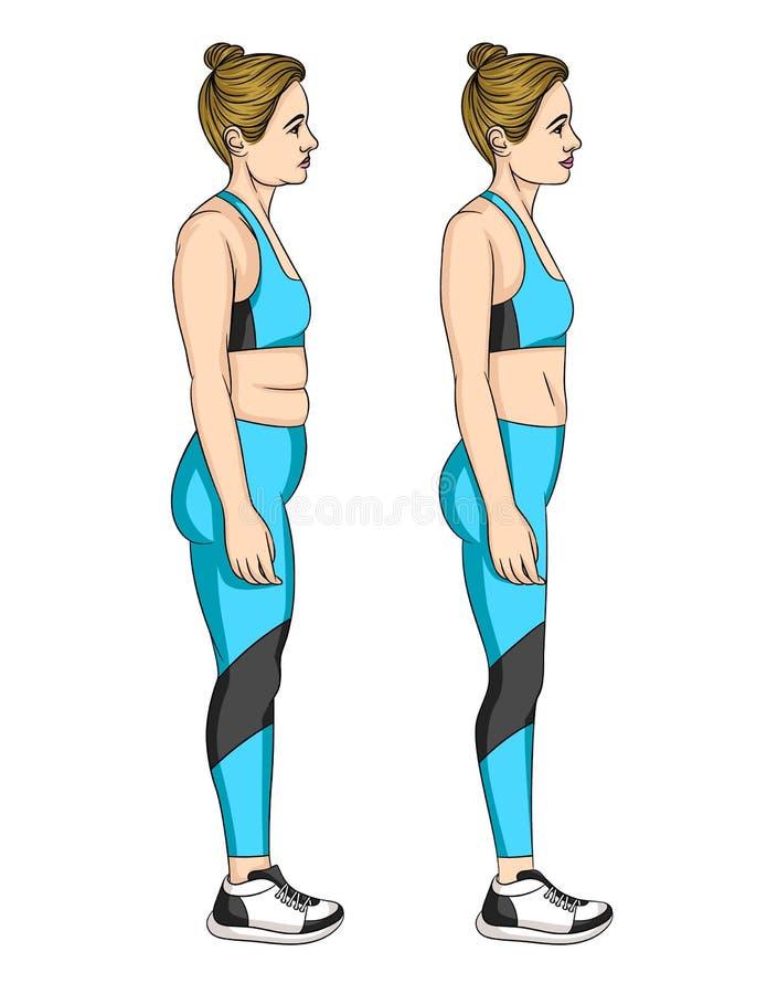 Vector kleurrijke illustratie van de transformatie van het vrouwen` s lichaam stock illustratie