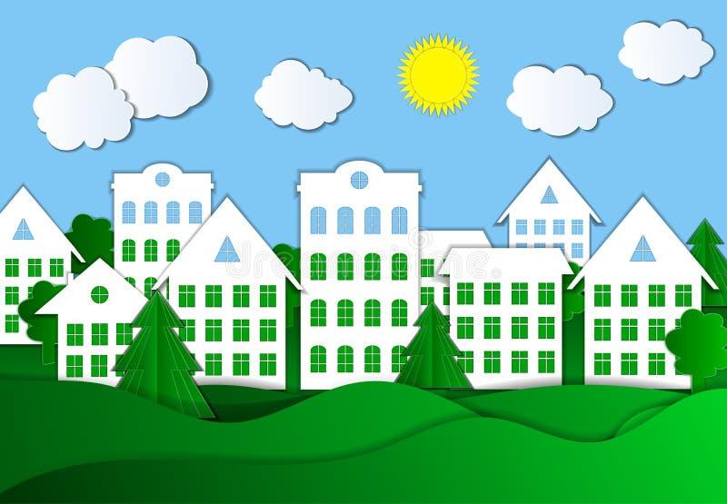 Vector Kleurrijke Illustratie van Eco-Stad, Heldergroen Gras en Blauwe Hemel, Document Achtergrond vector illustratie