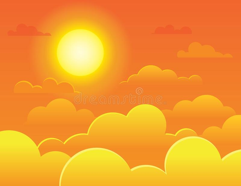 Vector kleurrijke illustratie van een heldere volledige zon op een achtergrond van een oranje hemel vector illustratie