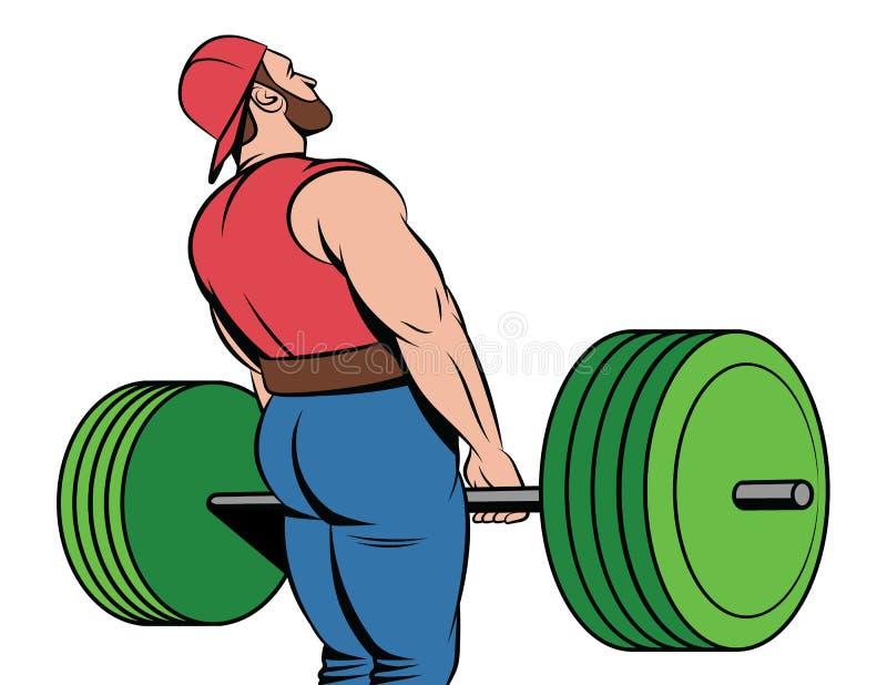 Vector kleurrijke illustratie van een jonge spierkerel stock illustratie