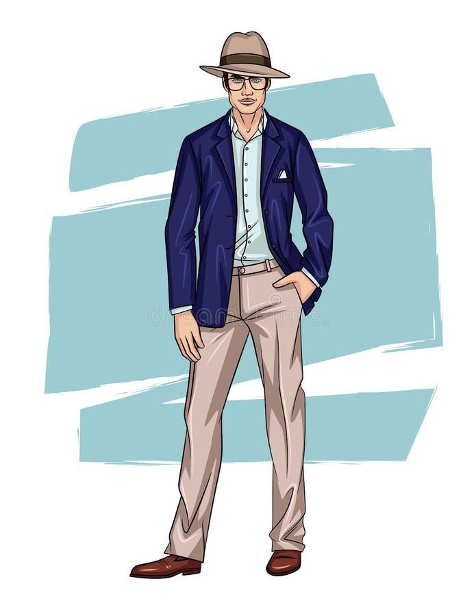 Vector kleurrijke illustratie van een ontspannen in kerel die zich in kostuum vooraan bevinden vector illustratie