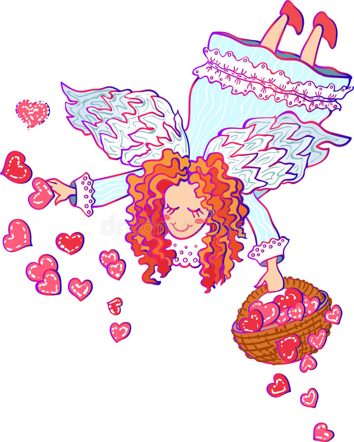 Vector kleurrijke illustratie van engel Valentine vector illustratie