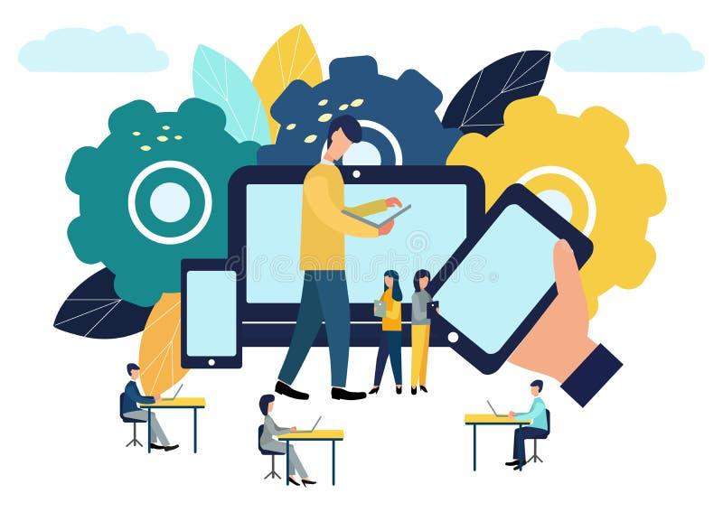 Vector kleurrijke illustratie van mededeling over Internet, sociale netwerken, praatje, video, nieuws, berichten, website, onderz royalty-vrije illustratie