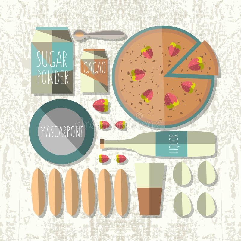 Vector kleurrijke illustratie van vlak tiramisurecept van de ontwerpstijl stock illustratie