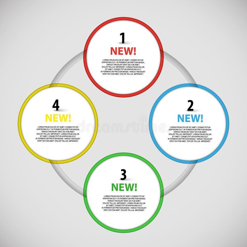 Vector kleurrijke informatieknopen rond schema stock illustratie