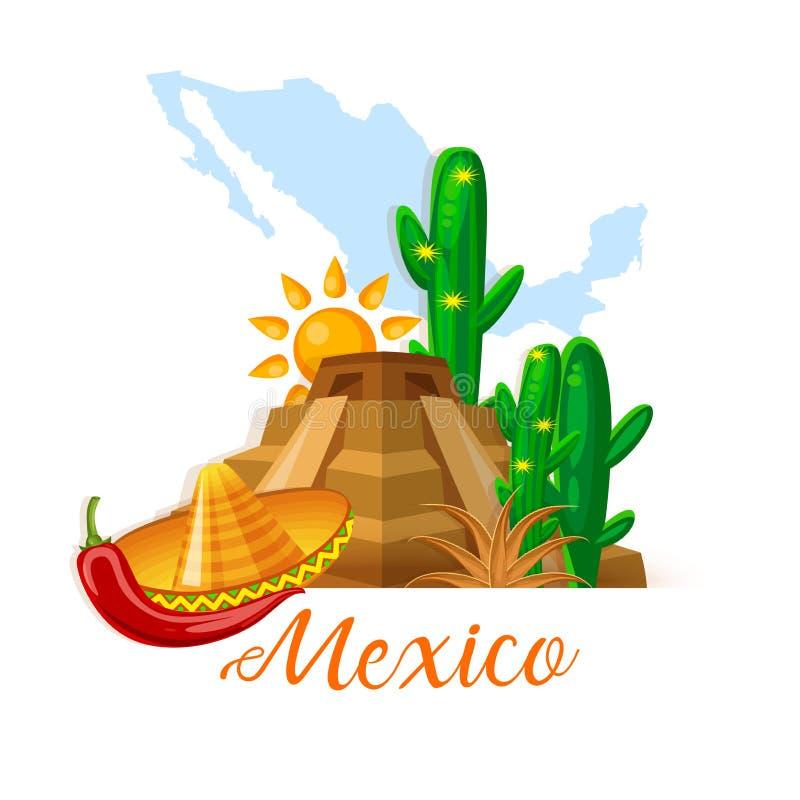 Vector kleurrijke kaart over Mexico Witte achtergrond Viva Mexico Reisaffiche met Mexicaanse punten stock illustratie