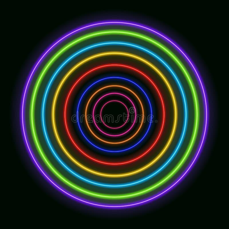 Vector Kleurrijke Neoncirkels, Glanzende Regenboog Gekleurde Ringen royalty-vrije illustratie
