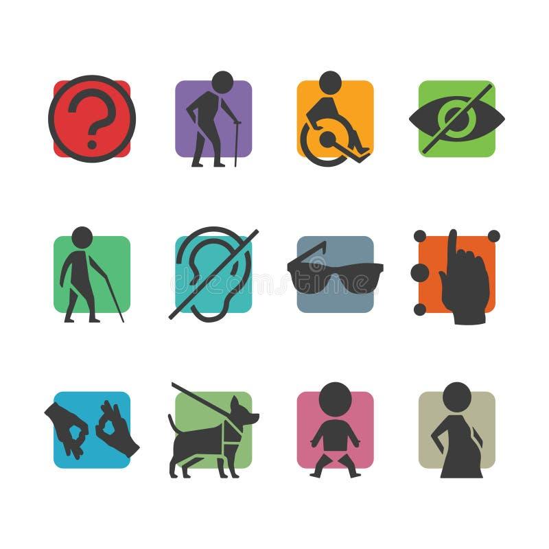 Vector kleurrijke pictogramreeks toegangstekens voor fysisch gehandicapten royalty-vrije illustratie