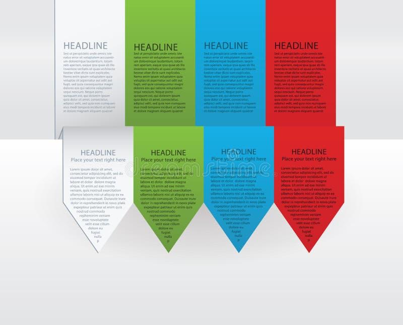 Vector kleurrijke pijletiketten. Document, groene, blauwe en rode versie stock illustratie