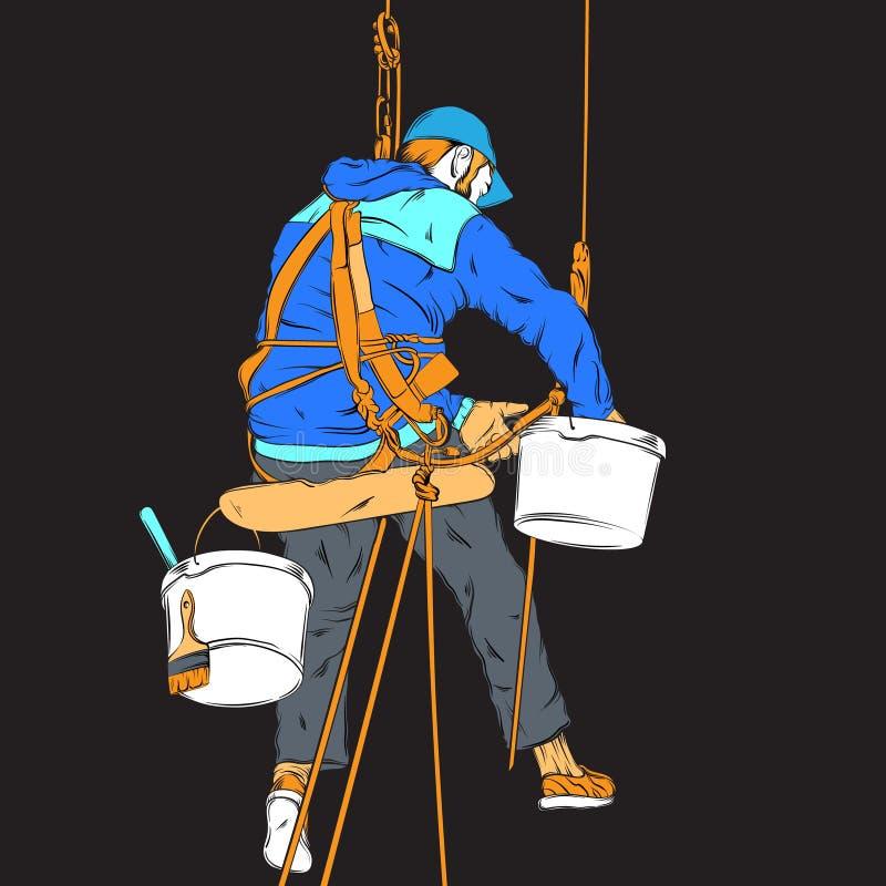 Vector kleurrijke realistische illustratie van decorateur stock illustratie