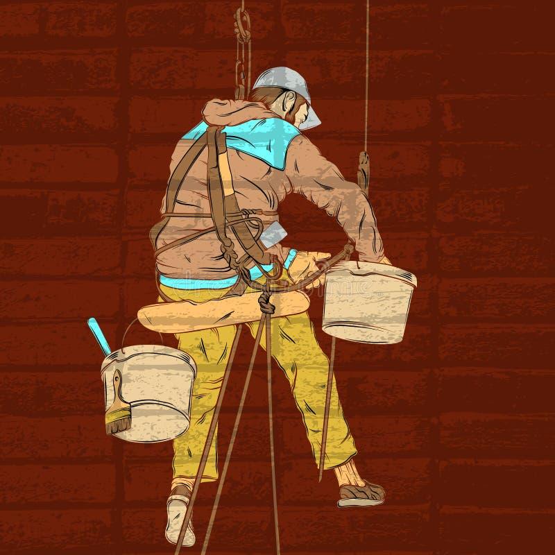 Vector kleurrijke realistische illustratie van decorateur in het werk proces stock illustratie