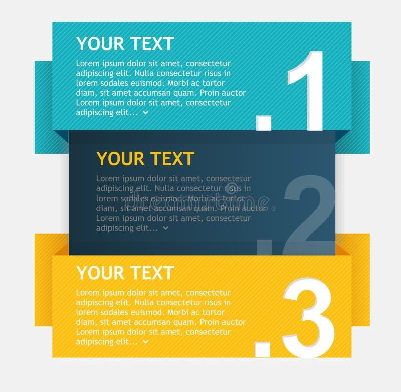 Vector kleurrijke tekstvakjes, optiesbanner royalty-vrije illustratie