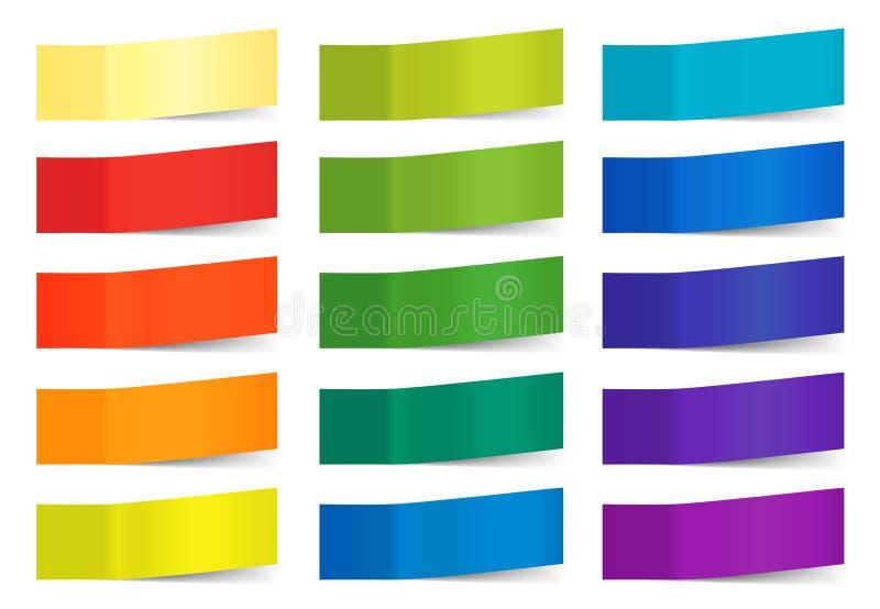Vector kleverige die nota's op wit worden geïsoleerd De gekleurde document stickers voor herinneren illustratie Inzameling van kl vector illustratie