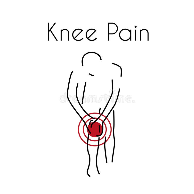 Vector Knee Pain Linear Icon royalty free illustration